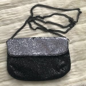J. Crew Glitter Flap Clutch Purse Black Silver